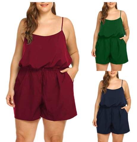 Plus Size Jumpsuit Women Summer Casual Solid Sleeveless V-Neck Rompers Short Rom