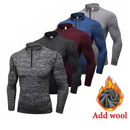 Winter Long Sleeve Zipper Sport Shirt Men , Fitness Tights Quickly Dry Men's