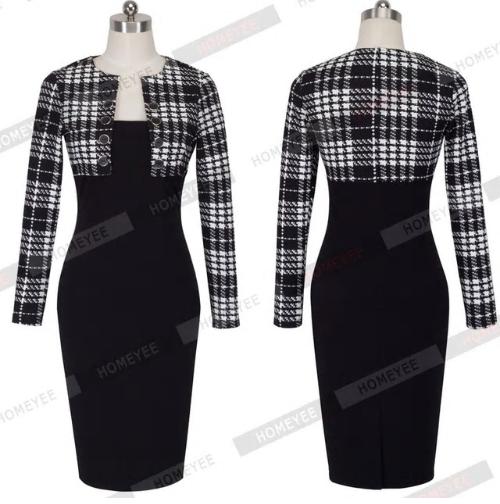 Autumn Winter Women Business Casual Sliming Pencil Dresses Elegant Long Sleeve O