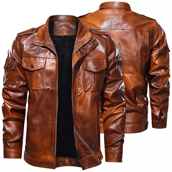 Men's Classical Motocycle Jacket 2021 Winter Fleece Thick Men Leather Jacket
