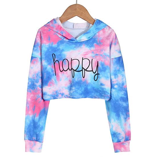 Soft Children Kids Teen Girls Crop Tops Tie-Dye Hoodies Long Sleeve Pullover