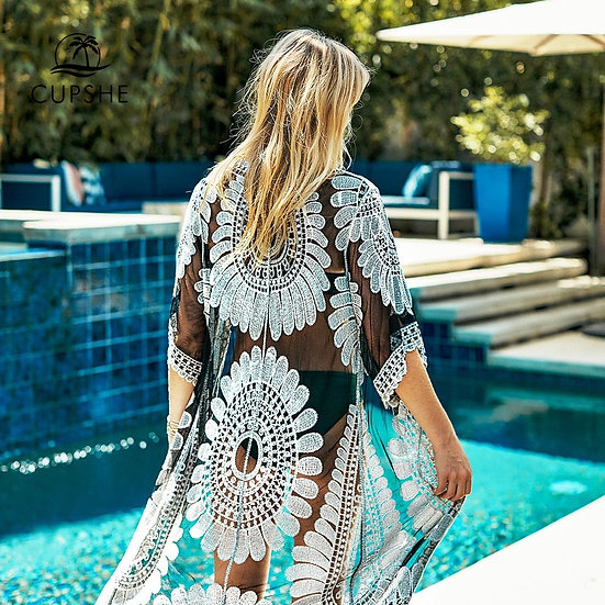 CUPSHE Black Sunflower Crochet Bikini Cover Up Sexy Swimsuit Beach Dress Women