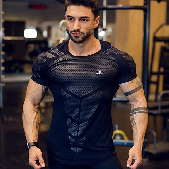 Compression Quick Dry T-Shirt Men Running Sport Skinny Short Tee Shirt Male Gym