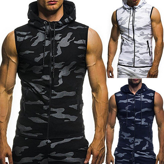 New Men Bodybuilding Tank Tops Gyms Fitness Workout Sleeveless Hoodies Man