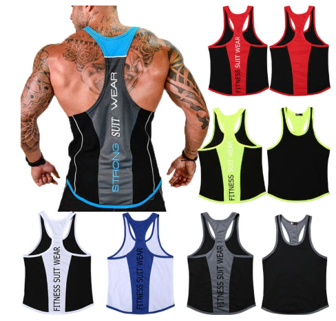 M-3XL Big Plus Size Men Tank Tops Letter Stringer Bodybuilding Y-Back Vest Muscl
