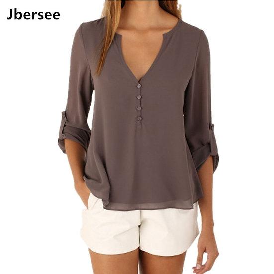 Jbersee 2020 Summer Women Casual Slim Sexy Long Sleeve Chiffon Blouse Women