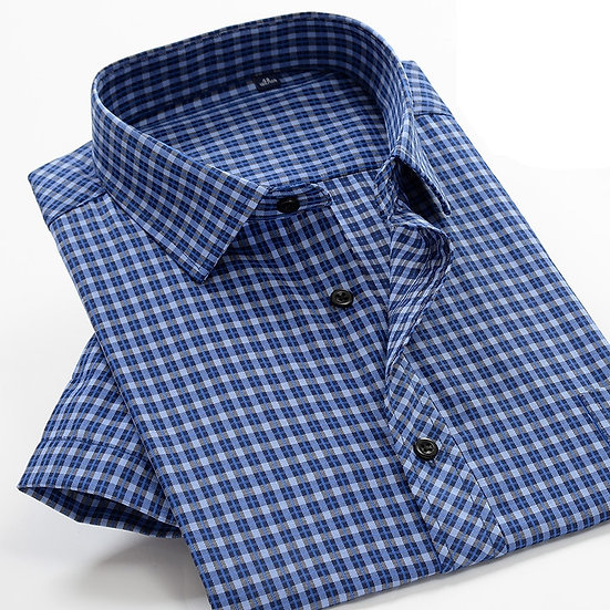 Big Size Men's Plaid Shirt 2020 Summer New High Quality Cotton Business Casual
