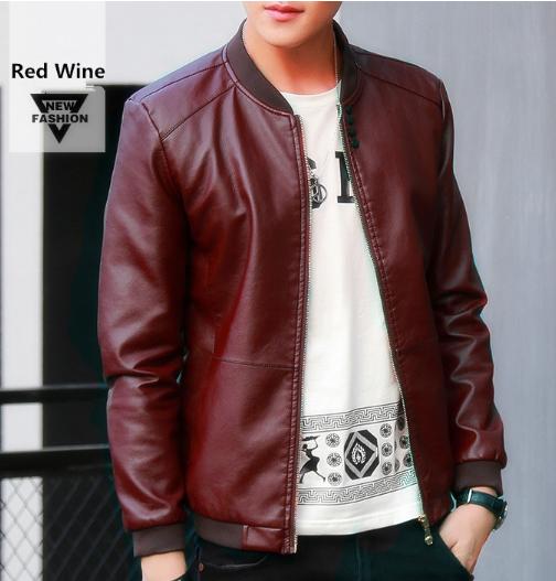 UNIVOS KUNNI 2017 Autumn Winter Men's Leather Coat Korean Slim Fit Leather Jacke