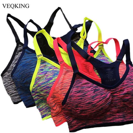 VEQKING Quick Dry Sports Bra,Women Padded Wirefree Adjustable Shakeproof Fitness