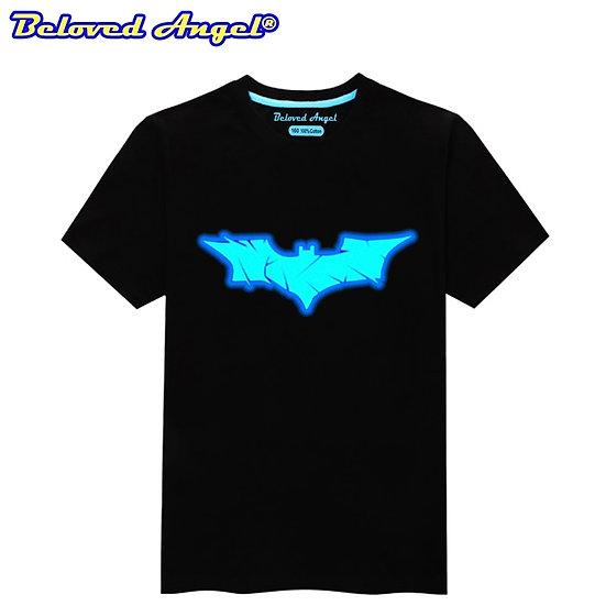 Summer Boys Luminous Printed T-Shirt Tops Kids Casual Short Sleeve O Neck