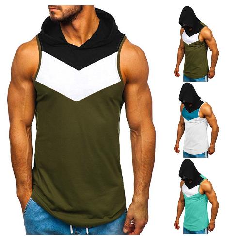 Casual Tank Tops Men Fitness Muscle Splice Sleeveless Hooded Bodybuilding Pocket