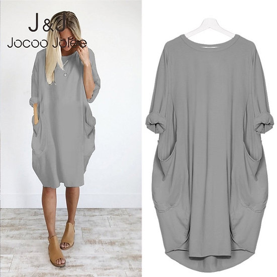 Women Casual Loose Dress With Pocket Ladies Fashion O Neck Long Tops Female