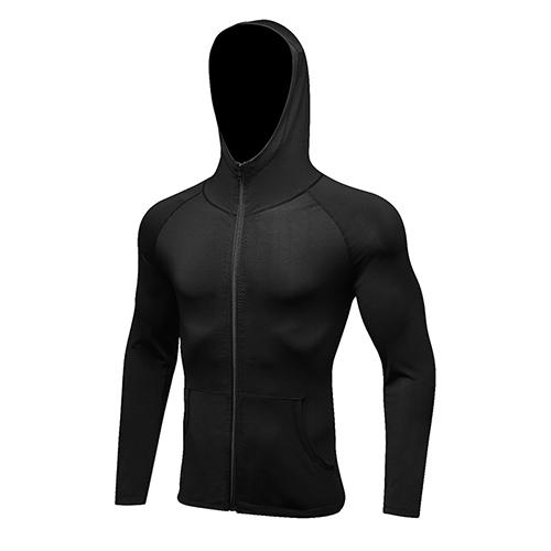 Hot Long Sleeve Compression Sports Jacket Men Shirt Hat+Zipper Gym