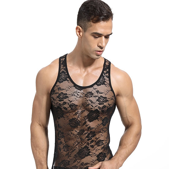 Men's Top Tops Sleeveless Sheer Mesh Sexy Vest Gays Intimates Breathable Soft