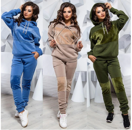 Two Piece Set Tracksuit Women Winter Hoodies Pants Suit Set Ropa Mujer Warm Pull