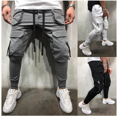 2019 Summer new Casual Trousers European and American big pocket fitness beam pa
