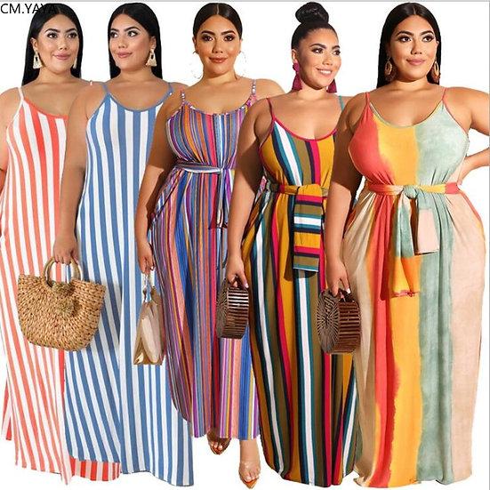Plus Size XL-5XL Summer Women Fashion Striped Print Sashes Long Maxi Dress