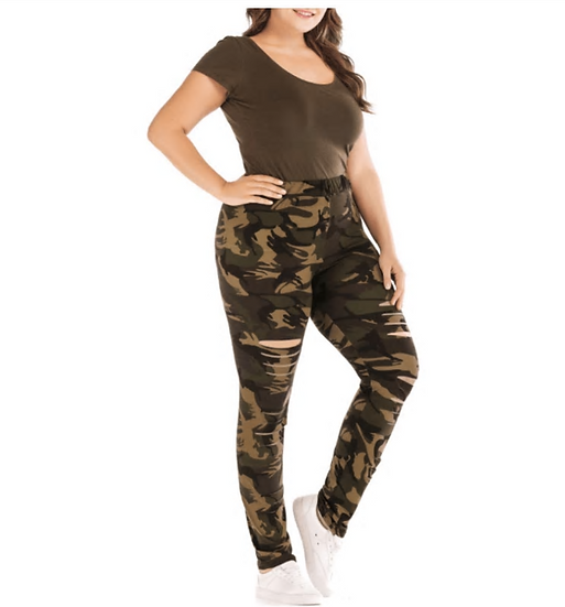 Plus Size Ripped Hole Camouflage Printing Elasticity Leggings 4Xl 5Xl Spring Sum