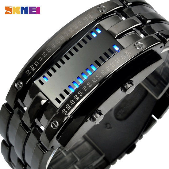 SKMEI Fashion Creative Sport Watch Men Stainless Steel Strap LED Display Watches