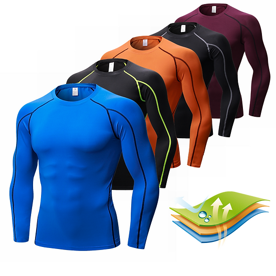 New Long Sleeve Fitness Gym Clothing Stand Collar Compression Shirt Winter Sport