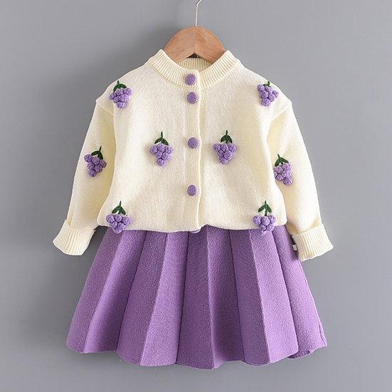 Autumn Winter Children Clothing Cartoon Two Set Skirt for Girls Dress Warm Suit