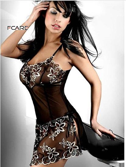 Fcare  Ladies Nightwear Underwear Adult Costume Sexy Uniform Black Dress+g Strin