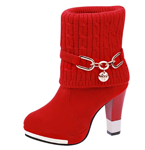 2020 winter new thick with shoes women's boots high-heeled female boots frosted