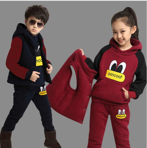 New Boy Girls Winter Set Children's Clothing Child Sports Thick Fleece Hoodies+P