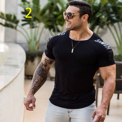 Men Summer T-Shirt Tights Tops 3XL Plus Size Letter Print Short Sleeve Workout T