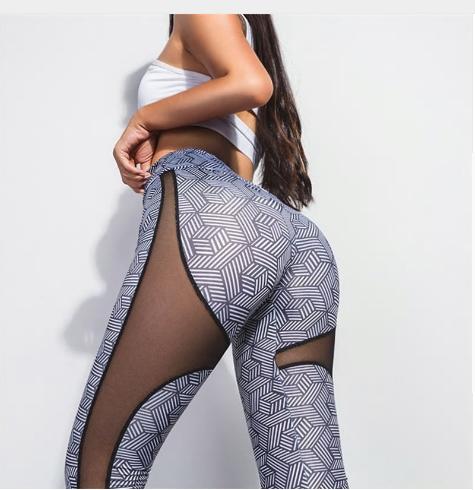 Women Fitness Mesh Patchwork Leggings High Waist Elastic Workout Legging Pants F