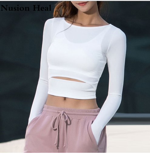 2018 Women Gym White Yoga Crop Tops Yoga Shirts Long Sleeve Workout Tops Fitness