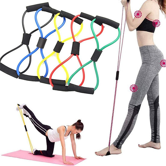 Yoga Resistance Exercise Bands Gym Fitness Equipment Pull Rope 8 Word Chest