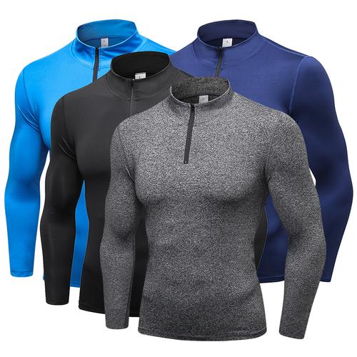 YD New Long Sleeve Sport Shirt Men Tights With Zipper Quick Dry Men's Running