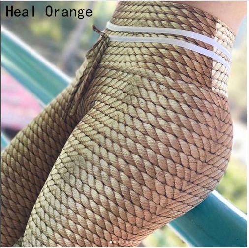 2018 New Knitting Rope Print Patchwork Gym Yoga Leggings Women Fitness Clothing