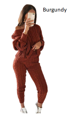 Autumn Winter Women Warm Knitted Two Piece Set Sweater Tops Pants Thick Wool Kni