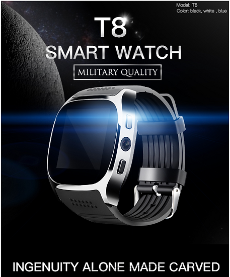 T8 Bluetooth Smart Watch Men With Camera Music Player Facebook Whatsapp Sync SMS