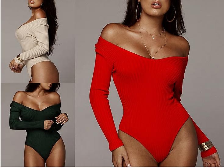 Articat Off Shoulder Ribbed Knitted Sexy Bodysuit Women Black V Neck Autumn Slim