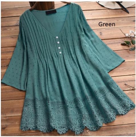 Women's Blouse Plus Size 5XL 4XL Tunic Shirt Lace V Neck Long Sleeve Women's Shi