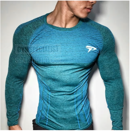 Autumn New Men Long sleeve Tight T-shirt Man Jogger Workout Quick dry t shirt Ma