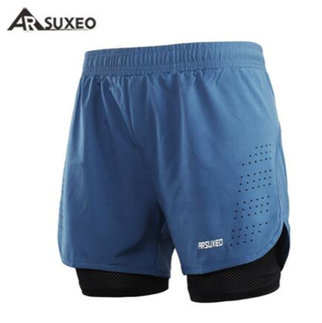 "Quick Dry Mens Sports 3"" Running Shorts Active Training Exercise Jogging 2 IN 1"