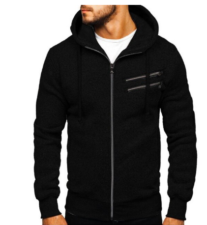 Men Sports Casual Wear Zipper Pocket Fashion Solid Color Tide Jacquard Hoodies F