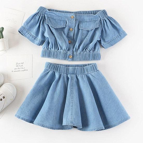 Summer Girls' Clothing Sets Korean Denim Short-Sleeved T-Shirt+High Waist Skirt