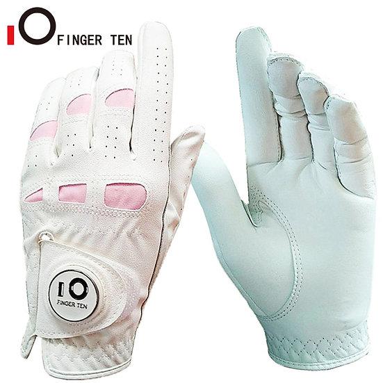 Ladies Leather Breathbale Golf Gloves Women Left Hand Right Weathersof Grip