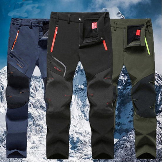 Men Oversized Plus Size Winter Softshell Fleece Outdoor Pants Trekking Fish Camp