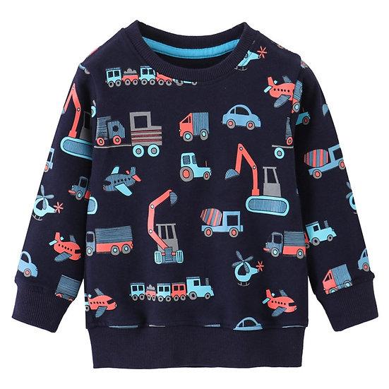 Excavator Print Children's Sweatshirts Cotton Boys Girls Clothing for Autumn