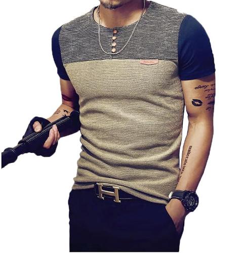 Summer Fashion Men's T Shirt Casual Patchwork Short Sleeve T Shirt Mens Clo