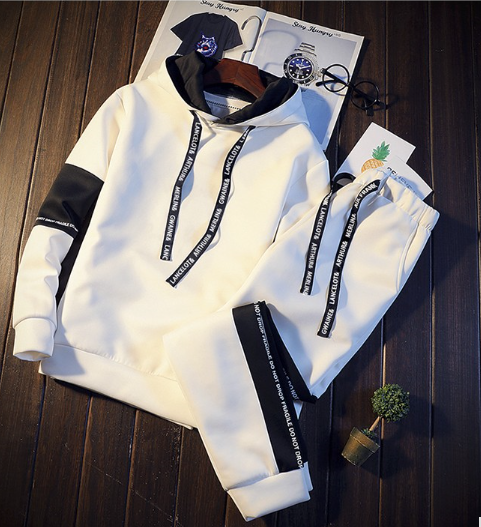 2019Brand Tracksuit Men Quality Spring Men Sporting Hooded Hoodie + Pants Two Pi