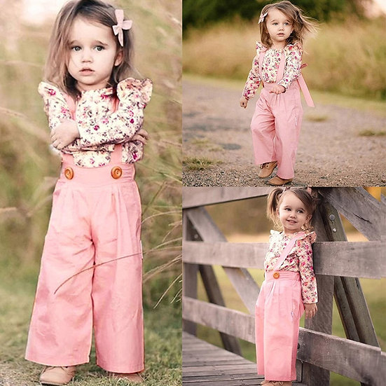 Toddler Baby Girl Clothes Floral Long Sleeve Tops+Solid Overalls Pants Clothes