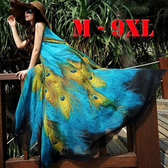 M-9xl Long Plus Size Beach Dresses for Vacation Print Peacock Bohemia Summer