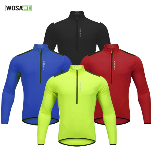 WOSAWE Reflective Cycling Jerseys Men Long Sleeve Maillot Downhill Bicycle Cloth